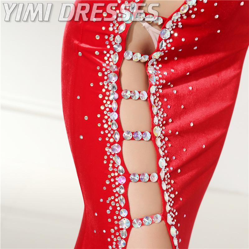 Sexy corte vermelho veludo vestidos de noite longo beading sereia baile de formatura vestidos de festa plus size formal vestido feminino elegante vestidos de gala - 4