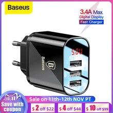 Baseus cargador de 3 puertos con pantalla Digital, adaptador de pared para cargador de teléfono, carga rápida, 3.4A