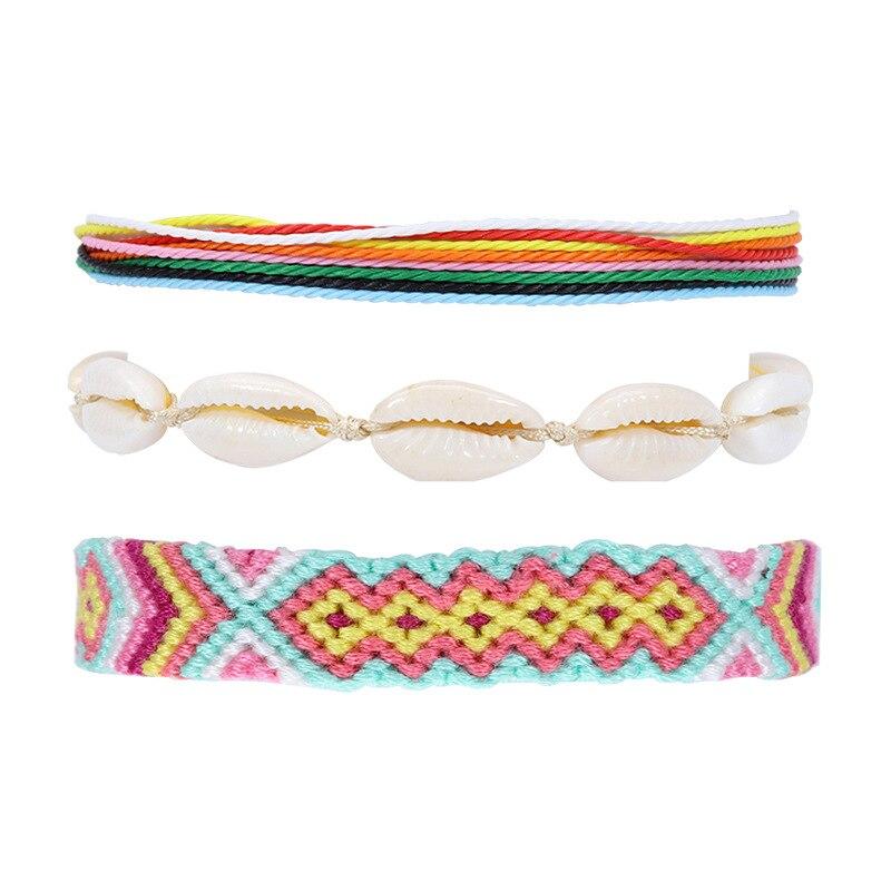 3pcs/set Bohemian Thread Bracelet Beach Foot Shell Anklet Handmade String Cord Woven Leg Bracelets For Women Men Summer Jewelry
