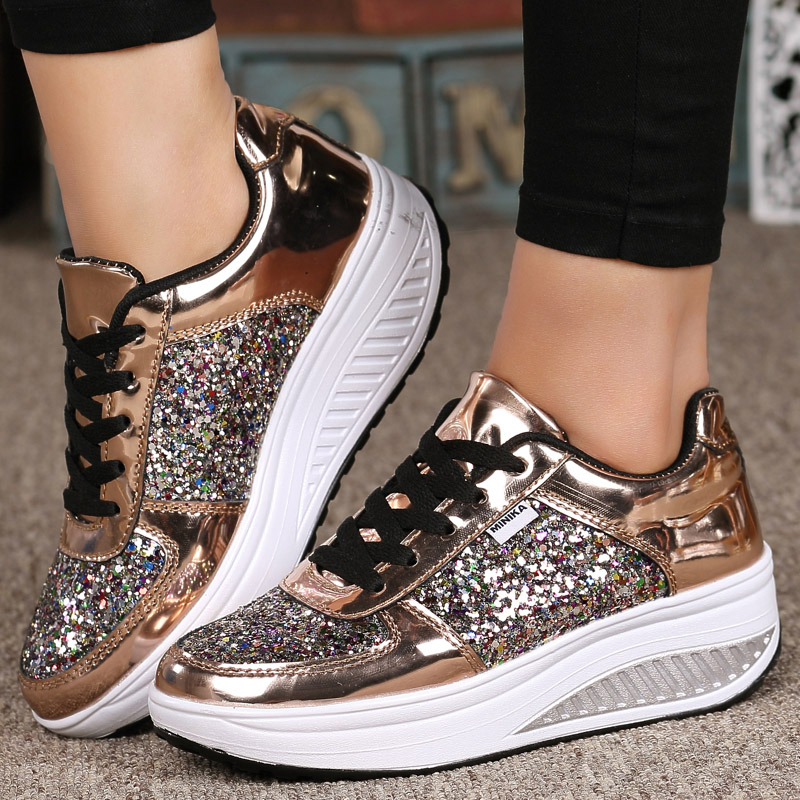 Damyuan Women's Sneakers Women Shoes Casual, Woman Soft Shoes, Sequined, Walking,wedge Shoes Woman Flats Shoes Women Fashion New