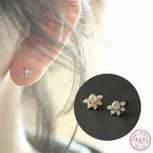Argento Sterling 925 14K oro Pavé cristallo sole orecchini donne temperamento carino studentessa gioielli regalo di amicizia