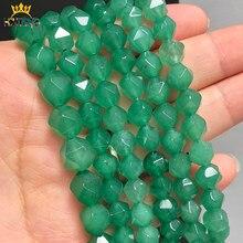 Faceteadas naturales verde ágatas cuentas de piedra Onix joya cuentas espaciadoras sueltas para fabricación de joyería DIY pulseras collares 15