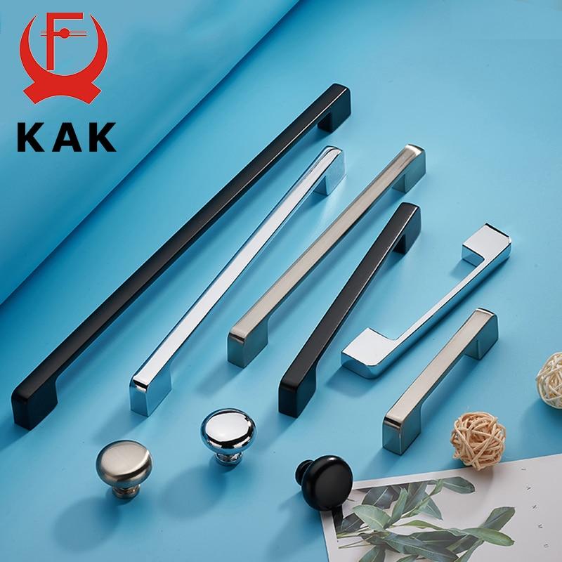 KAK Zinc Aolly Black Cabinet Handles Wardrobe Kitchen Cupboard Pulls Drawer Knobs Fashion Furniture Handle Door Hardware