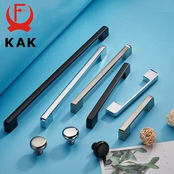 цена на KAK Zinc Aolly Black Cabinet Handles Wardrobe Kitchen Cupboard Pulls Drawer Knobs Fashion Furniture Handle Door Hardware