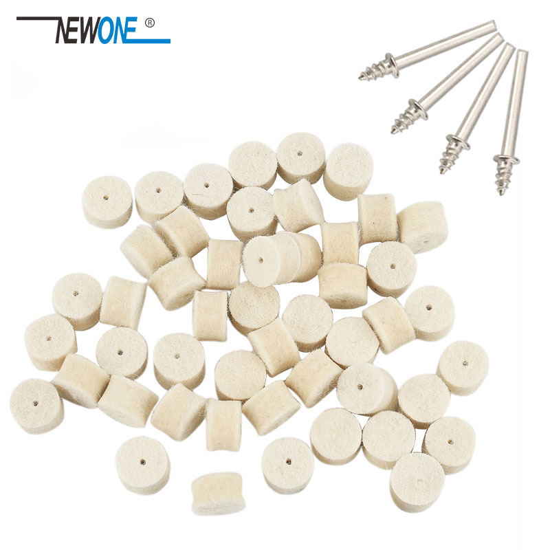 50pcs 13mm Wool Felt Polishing Buffing Wheel Grinding Abrasive Pad+4pcs 3.2 Mm Shanks For Dremel Rotary Tool Electric Drill