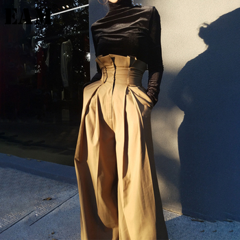 [EAM] High Waist Yellow Long Pleated Split Wide Leg Trousers New Loose Fit Pants Women Fashion Tide Spring Autumn 2020 1M646 2019 new spring v neck short sleeve print yellow pink chiffon dots loose big size xl long maxi split dress women fashion tide
