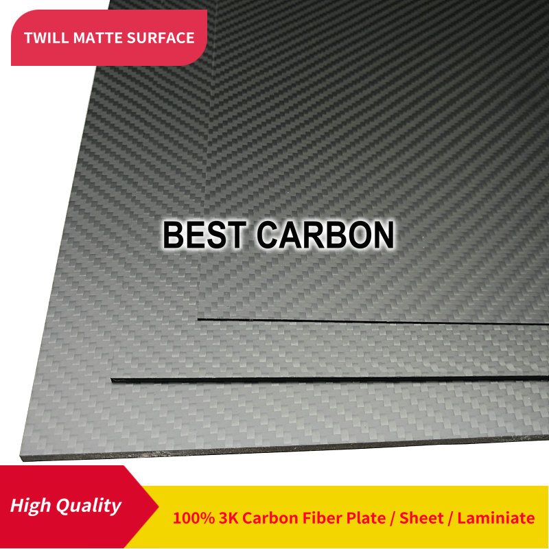 Free shipping 400mm x 500mm Twill Matte surface 100 Carbon Fiber Plate cfk plate rigid plate