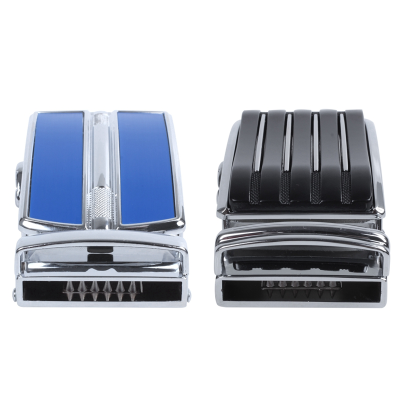 2x Men's Automatic Ratchet Belt Buckle In The Middle With An Edge-Dark Blue + Silver & With Vertical Lines -Black+Silver