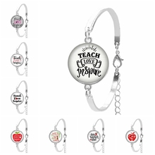 2019 New Hot Charm Teacher Round Photo Glass Convex Ladies Bracelet To The Teachers Gift