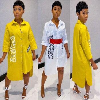 2020 Button Up White Shirt Dress Women Turn-down Collar Pockets Knee-length Summer Dress Streetwear Irregular Loose Casual Dress girls button up banana print collar dress