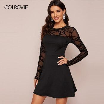 COLROVIE Black Sheer Contrast Mesh Solid Dress Women A Line Mini Dress 2020 New Spring Long Sleeve Ladies Elegant Dresses 3