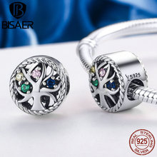 925 Sterling Silver Family Tree Of Life Beads & Charms Fit Original Pan Bracelets Necklaces DIY Accessories HSC213 tree of life 925 sterling silver tree of life family tree charms beads fit bisaer charm bracelet diy beads 925 silver jewelry