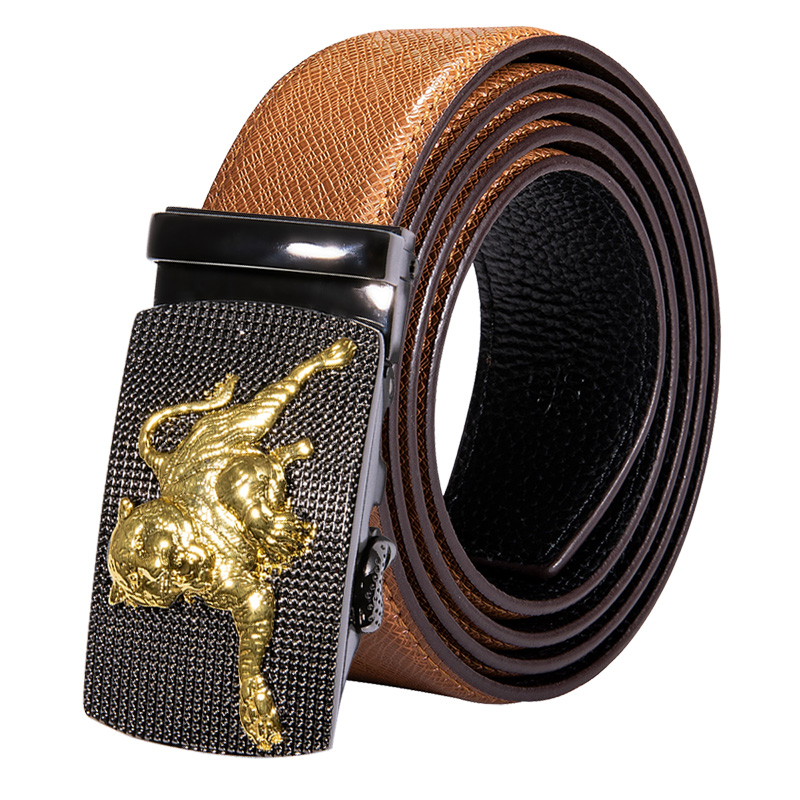 Hi-Tie New Fashion Designer Belts For Men Metal Buckle RAtchet Brown Yellow Genuine Leather Waist Belt Men 130cm