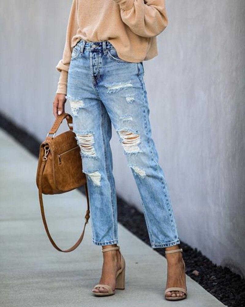 Новая повседневная женская обувь для путешествий джинсы с дырками в Европа и Америка уличные трусов-боксеров с рваными обхват талии и прямы...