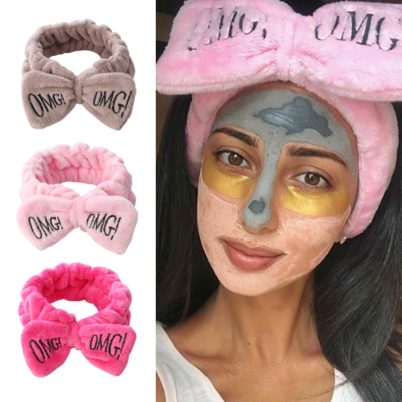 2021 New Letter OMG Headbands for Women Girls Bow Wash Face Turban Makeup Elastic Hair Bands Coral Fleece Hair Accessories