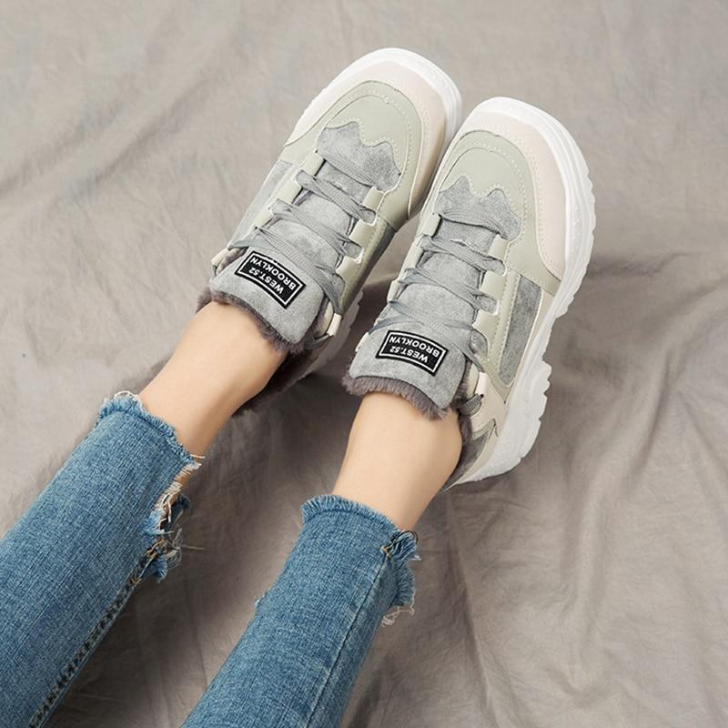 Image 5 - SWYIVY Platform Sneakers Women Shoes Winter Warm Flock Women Sneakers 2019 Casual Shoes Woman Med Heel Ladies Shoe BreathableWomens Vulcanize Shoes   -