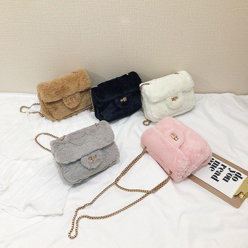 Plush ladies messenger bag 2019 autumn new female fur chain shoulder small fragrance square Womens Bags