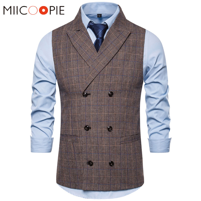 Vest Men Waistcoat Gilet Plaid Formal Double-Breasted New-Fashion Business Social Sleeveless