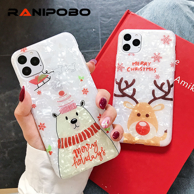 Cartoon Merry Christmas deer Phone Case For iPhone 11 11Pro XR XS Max 6 6S 7 8Plus Shell Pattern Words Soft IMD Back Cover Gift
