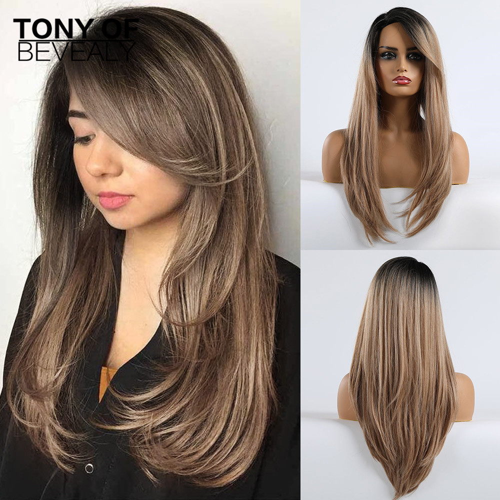 Long Straight Ombre Black Brown Wigs With Bangs For Black Women Natural Synthetic Wigs Heat Resistant Cosplay Fiber Wigs