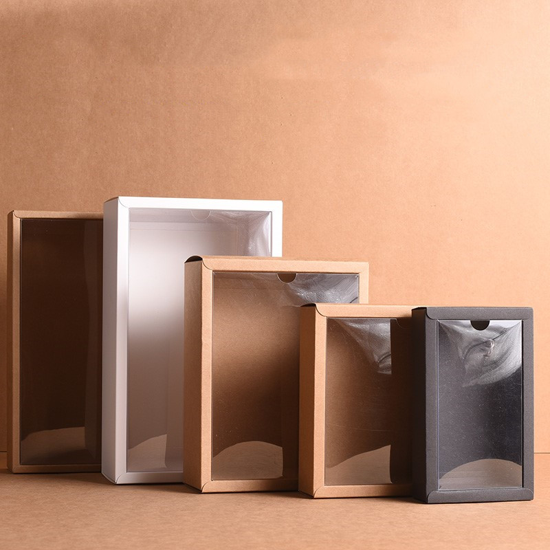 10pcs Folding Kraft Paper Box With Transparent PVC Window Gift Box Packaging Box Candy Favors Arts&krafts Display Package Box