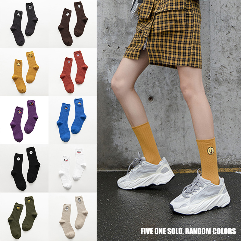 5 Pairs Womens Casual Socks Embroidery Cotton Blend Breathable Sock Cute Pattern O66
