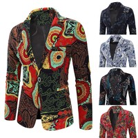 2019 New Arrival Mens Vintage Ethnic Printed Dress Floral Suit Slim Fit Blazer Thin Jacket wedding suits for men W726