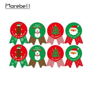 Image 5 - Marebell 30pcs חג המולד שקיות לאריזת עוגיות דביק נייר Cartoon סנטה קלאוס מסיבת ילדי של יום ביסקוויט אפיית אריזה