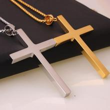 цена на Fashion Stainless Steel Gold Silver Cross Necklace for Women Men Vintage Box Chain Pendant Necklaces Jewelry Gift