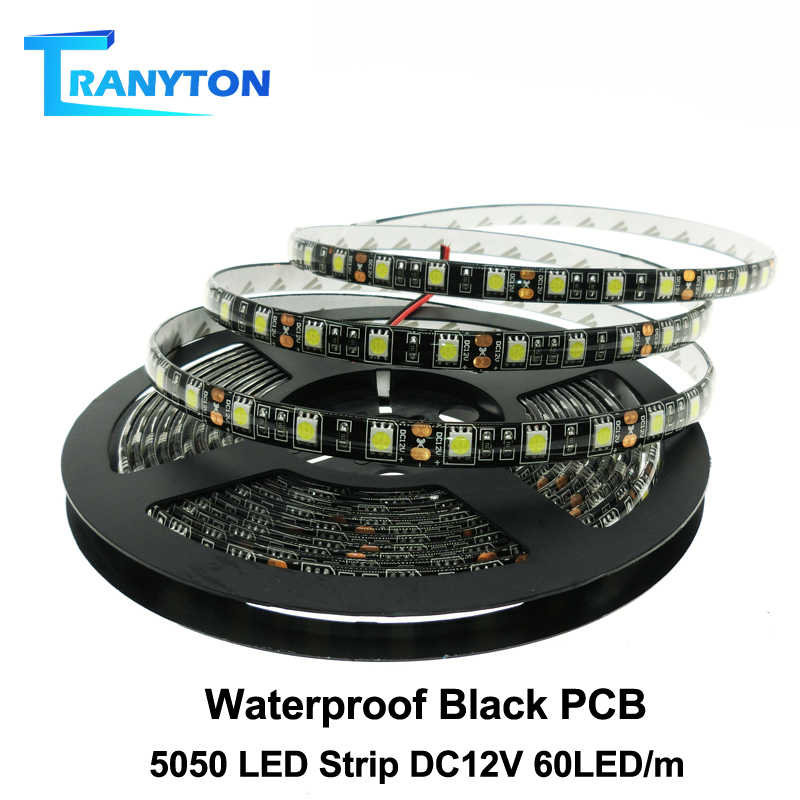Black PCB LED Strip 5050 DC12V Waterproof Flexible Led Light Tape 60LED/M White/Warm White/Red/Green/Blue/ RGB LED Strip Light.