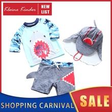 ملابس أطفال 3 قطع الأطفال ملابس السباحة الصبي rashguard UPF50 + UV حماية طويلة الأكمام تصفح الاستحمام لباس سباحة للبنين