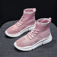 Тянущийся носок; женские модные ботинки; повседневная обувь на плоской подошве; женская обувь из сетчатого материала; обувь на шнуровке; Botas ...