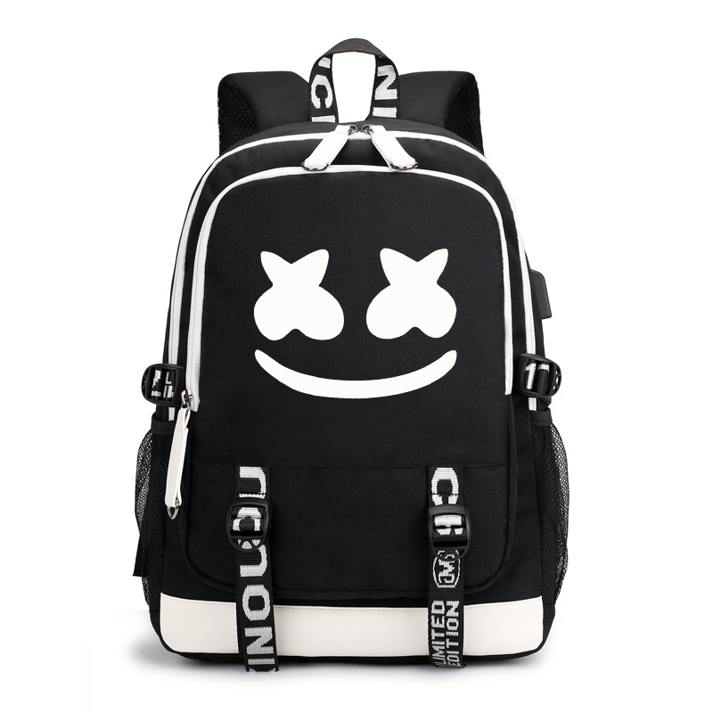 Currently Available American DJ Marshmello Cotton Candy Backpack Custom Luminous USB Charging Backpack Student School Bag