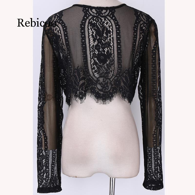 Ladies Spring and Autumn Black Lace Long Sleeve Shirt Cropped Top Hollow Office 2019 in Blouses amp Shirts from Women 39 s Clothing