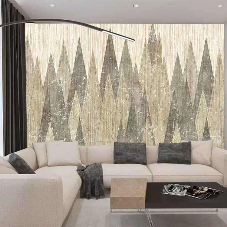 Customizable 3D European Style Cool Abstract Geometry Lines Woods Living Room Bedroom Sofa TV Background Wallpaper Mural