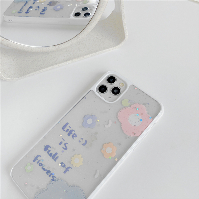 Luxury Glitter Transparent Case For iphone 11 Pro Xs Max SE 2 2020 case 7 8 plus X XR Back Cover Cute Clear Siliocne Soft Capa