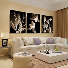 Toile d'art mural, peinture abstraite de fleurs blanches, décoration de maison, images murales pour salon