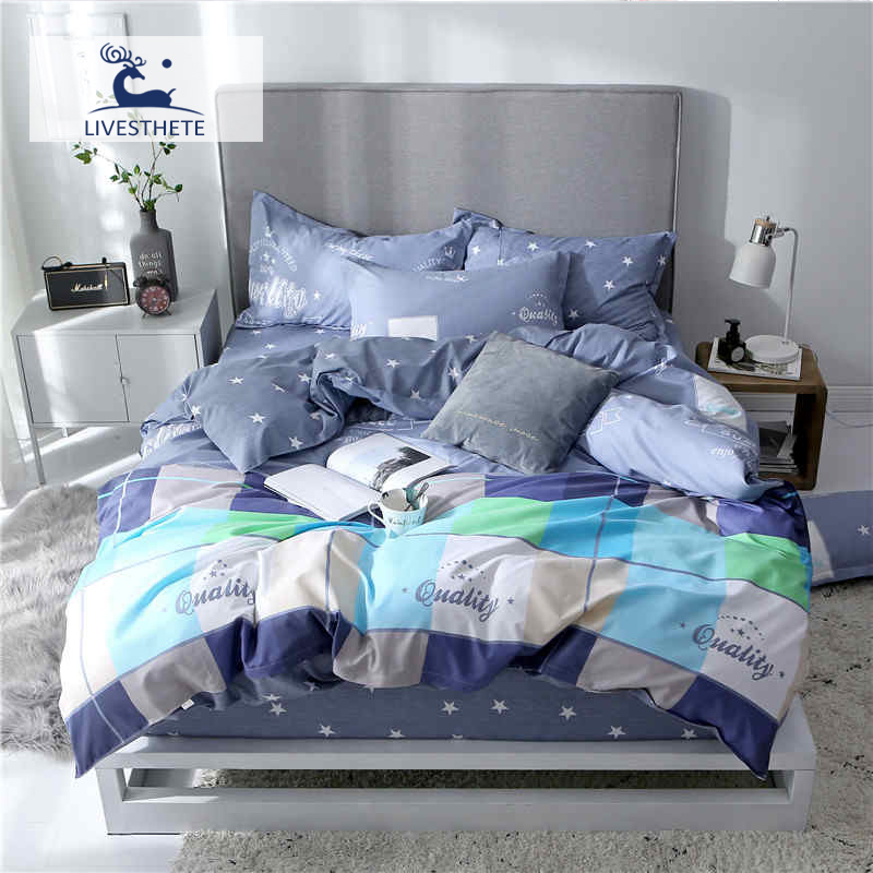 Liv-Esthete 2019 New Blue Lattice Bedding Set Printed Soft Duvet Cover Pillowcase Star Bed Linen Flat Sheet Or Fitted