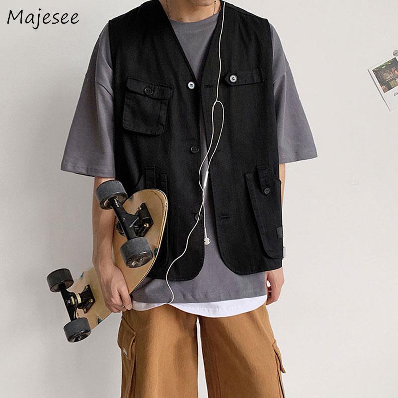 Vests Men Pockets Sleeveless Coats Waistcoats Leisure Chic Daily Outwear Mens Safari Style Unisex Couples BF Teens Harajuku Vest