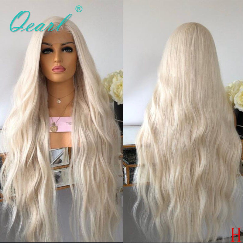 Transparent Lace White Blonde Human Hair Lace Front Wig 180% 250% Light Color Wigs Natural Wave Remy Hair 13x4  Preplucked Qearl
