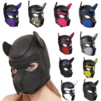 Sexy Dog Adult Games Couples SM Flirting Games Toys For Erotic Hoods BDSM Bondage Puppy Play Hoods Slave Rubber Pup Mask Fetish цена 2017