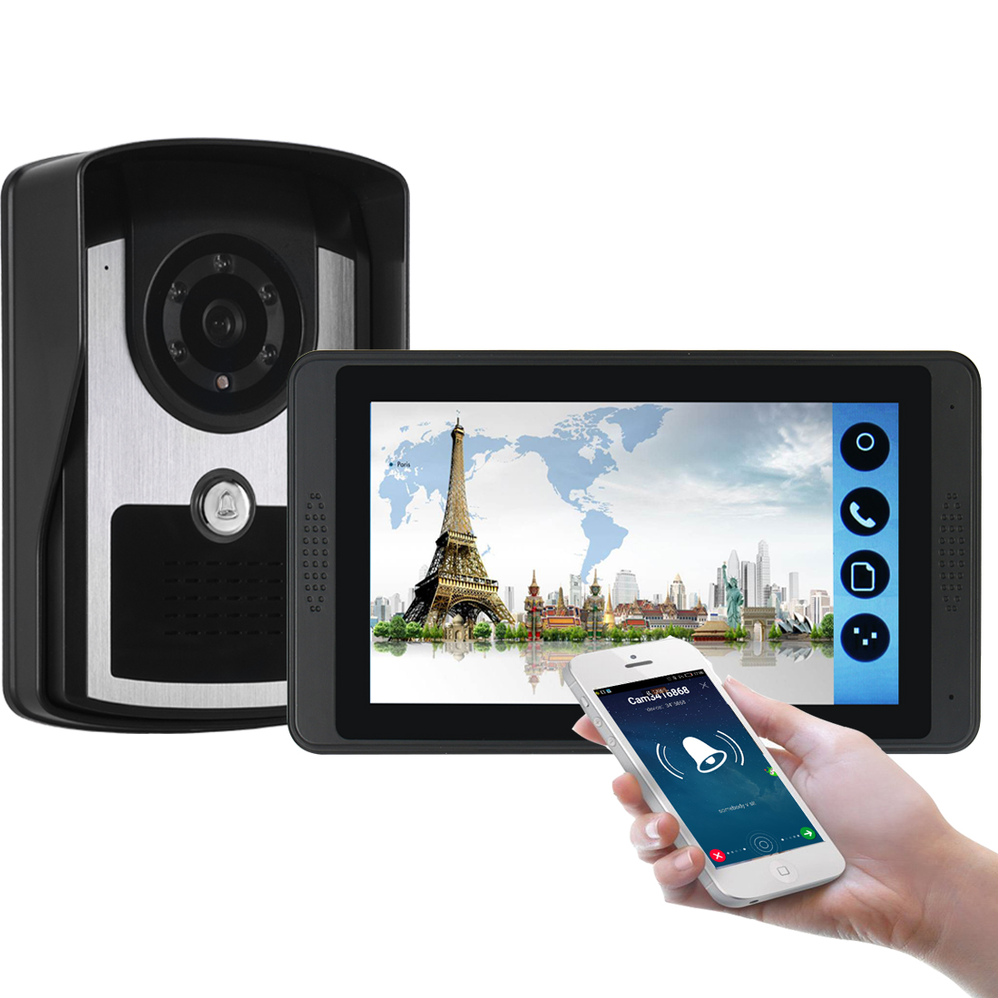 7'' WiFi Video Doorbell Capacitive Touch Screen Wired Photo Phone Remote Control Night Home Intercom Security Camera Apartment