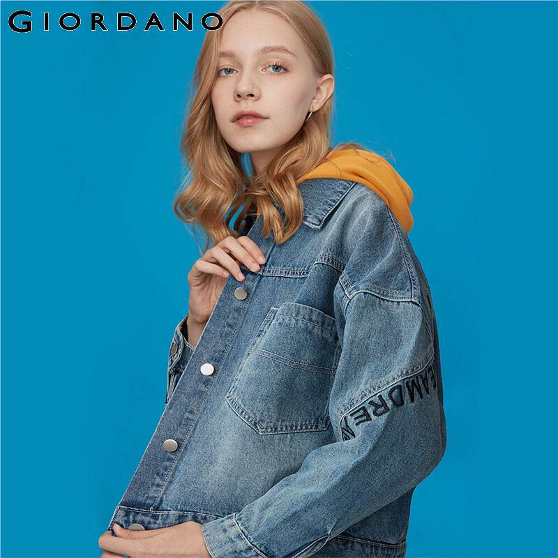 Giordano Women Jackets 100% Cotton Printed Letters Jeans Jacket Women Turn-down Collar Flap Pockets Soild Jeans Jacket 91379680