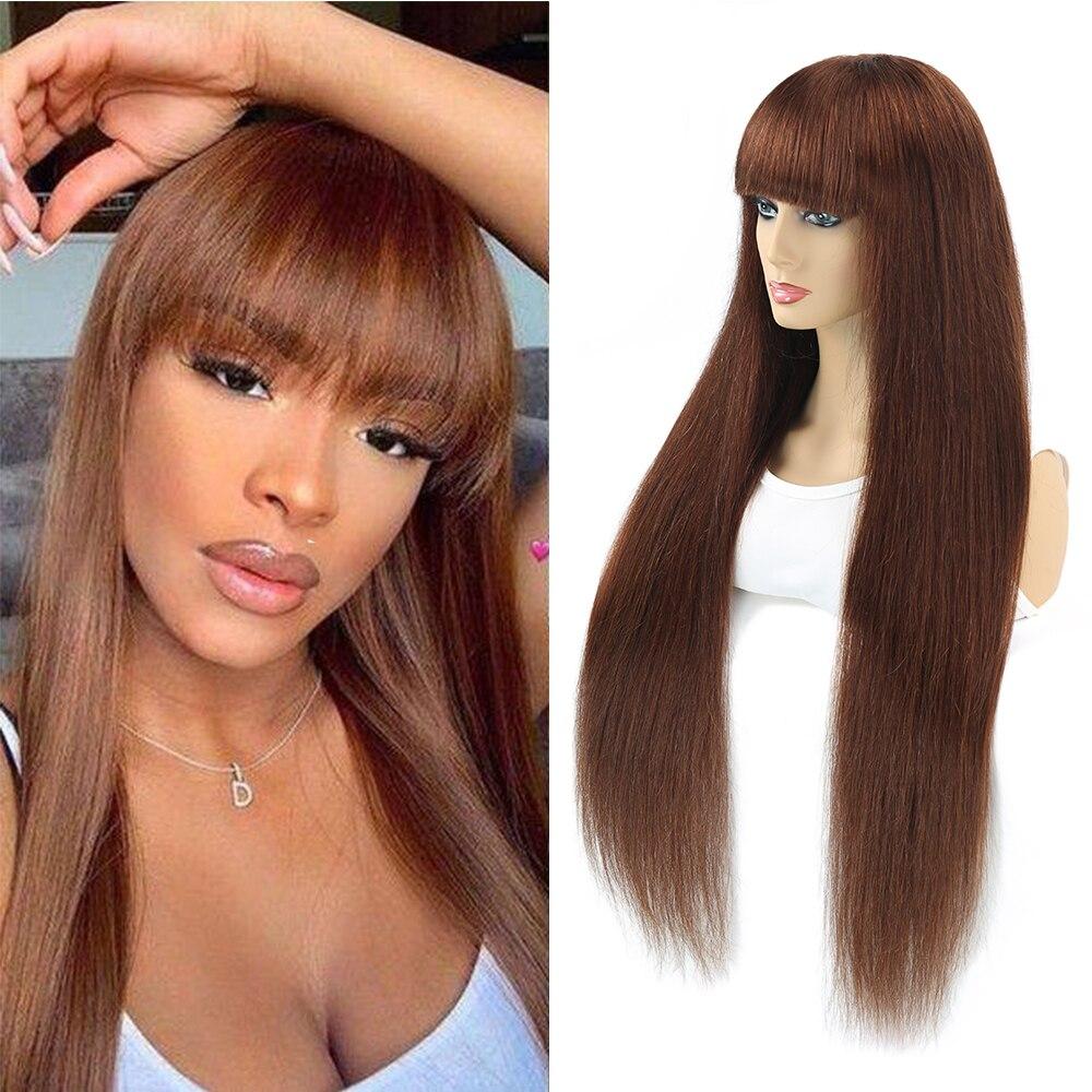 Perucas retas brasileiras do cabelo humano de ombre para as mulheres peruca completa com estrondo seda marrom roxo destaque máquina feita peruca remy
