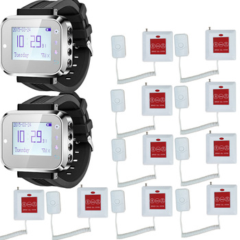 Call Nurse system watch wireless calling receiver waiter caller 2 smart watch pager with 10 touchable bells