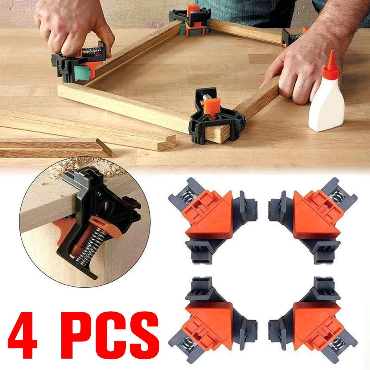 4 Uds. 90 grados ángulo recto esquina abrazadera fijador de clips Marco de imagen esquina abrazadera carpintería herramienta de mano ángulo abrazaderas