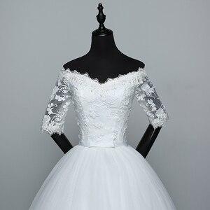 Image 5 - أنيقة قارب الرقبة نصف كم الدانتيل 2020 فستان زفاف جديد زين منظور مخصص حجم كبير ثوب زفاف Casamento L