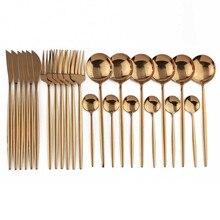 24Pcs In Oro Rosa In Acciaio Inox 304 Piatti e Posateria Set Cena Occidentale Posate Argenteria Posate Coltello Cucchiaio Forchetta Set Da Tavola