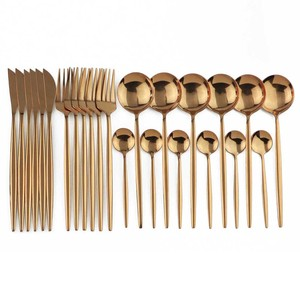 Image 1 - 24Pcs Rose Gold 304 Stainless Steel Dinnerware Set Western Dinner Flatware Silverware Cutlery Knife Spoon Fork Tableware Set