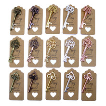 50pcs DIY Wedding Decoration 5 Colors Vintage Key Bottle Opener with Thank You Paper Tags Wedding Pa
